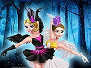 Anna and Elsa: black swan and white swan